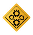 color square road sign with gear wheels vector image vector image