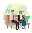 couple business sitting in park chair with vector image vector image