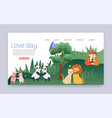 couples in love cartoon animal lovers characters vector image vector image