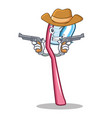 cowboy toothbrush character cartoon style vector image vector image