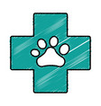 cross with dog paw icon vector image vector image
