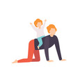 cute little son riding on his fathers back dad vector image vector image