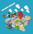 delivery service isometric composition vector image vector image