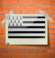 Flags Brittany scotch taped to a red brick wall vector image vector image