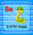 flashcard letter s is for snake vector image vector image