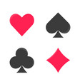flat black and red color playing card suits vector image