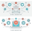 Flat line E-mail and Video Marketing Concept vector image