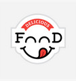 food logo with yummy face vector image vector image