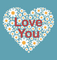 greeting card with love you phrase vector image vector image