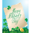 Happy St Patricks Day Old scroll Shamrock vector image