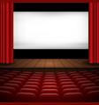 interior a cinema movie theatre with red vector image vector image