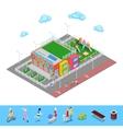 Isometric Kindergarten with Playground vector image