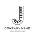 j letter logo design piano keyboard logo vector image