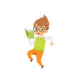 little boy reading book and jumping cute kid vector image