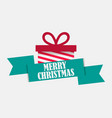 merry christmas festival banner with gift box and vector image