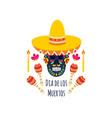 mexican dia de los muertos sugar skull wearing a vector image vector image