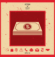 money banknotes stack with dollar symbol - icon vector image