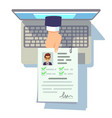 online cv application resume submission on laptop vector image vector image
