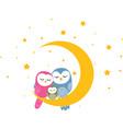 owl family sleep on moon background vector image