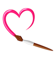 paintbrush heart vector image vector image