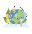 people cleaning earth planet with tools vector image