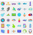 radio technology icons set cartoon style vector image vector image
