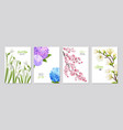 realistic flower banners collection vector image