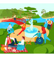 recreation for people in park summer lyfestyle vector image vector image
