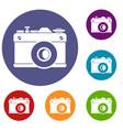 retro camera icons set vector image vector image