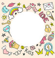 round frame with hand drawn girly doodles vector image