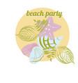 sea elements starfish palm seashell vector image vector image