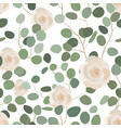seamless pattern with eucalyptus and roses vector image vector image