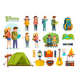 set of camping equipment backpackers climbers vector image