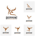 set of deer hunt logo template elegant deer head vector image