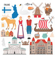 set with finland symbols in flat style vector image vector image