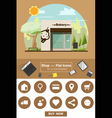 shop and flat icons for e commerce bakery vector image