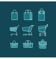 Shopping Bag Cart Basket Line Web Icons Set vector image