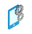 Smartphone with gears icon isometric 3d style vector image