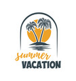 summer emblem with palms design element for logo vector image vector image
