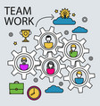 teamwork business concept with gears and people vector image