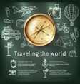 World Travel Poster With Compass vector image