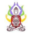 Yoga meditating in lotus asana icon vector image