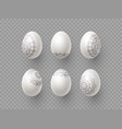 3d easter eggs with handdrawn ornament vector image