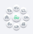 agricultural machinery line icons vector image