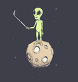 alien make selfie on the moon vector image vector image