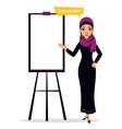 arab business character standing near flipchart