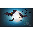 bats flying at night full moon halloween vector image