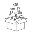 business and office symbols in black and white vector image vector image