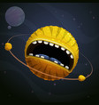 cartoon fantasy yellow monster planet with giant vector image vector image