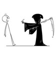cartoon man ordered grim reaper with scythe vector image vector image